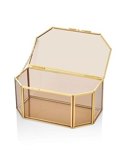 The Mia Brass Dekor & Çiçeklik 18 x 10 Cm Altın